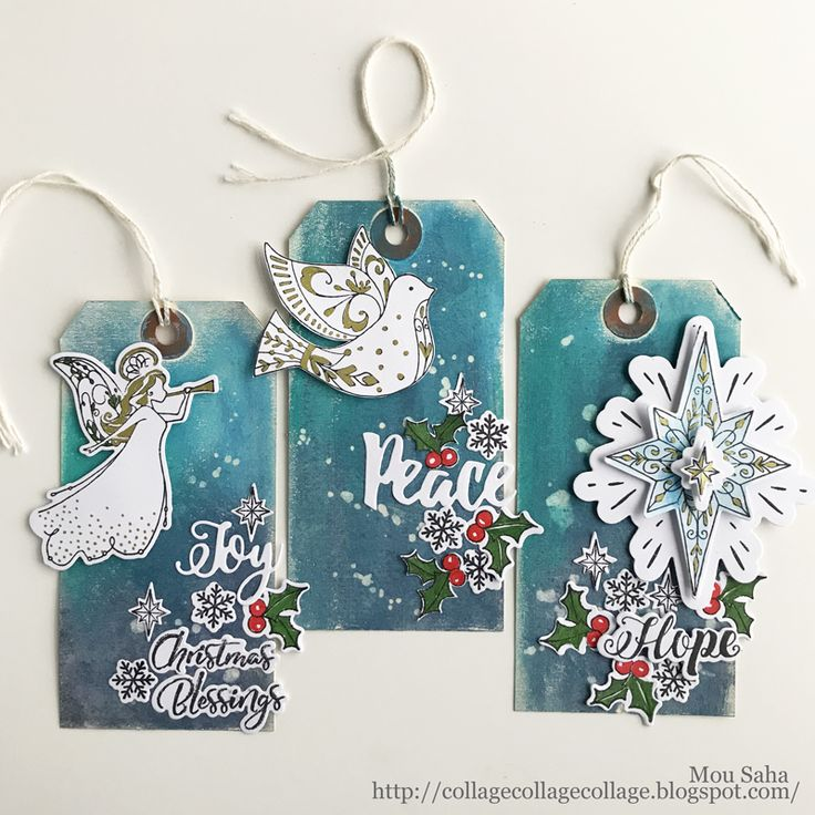 Holiday Tags by Mou Saha using stamps and dies by Katelyn Lizardi for Sizzix