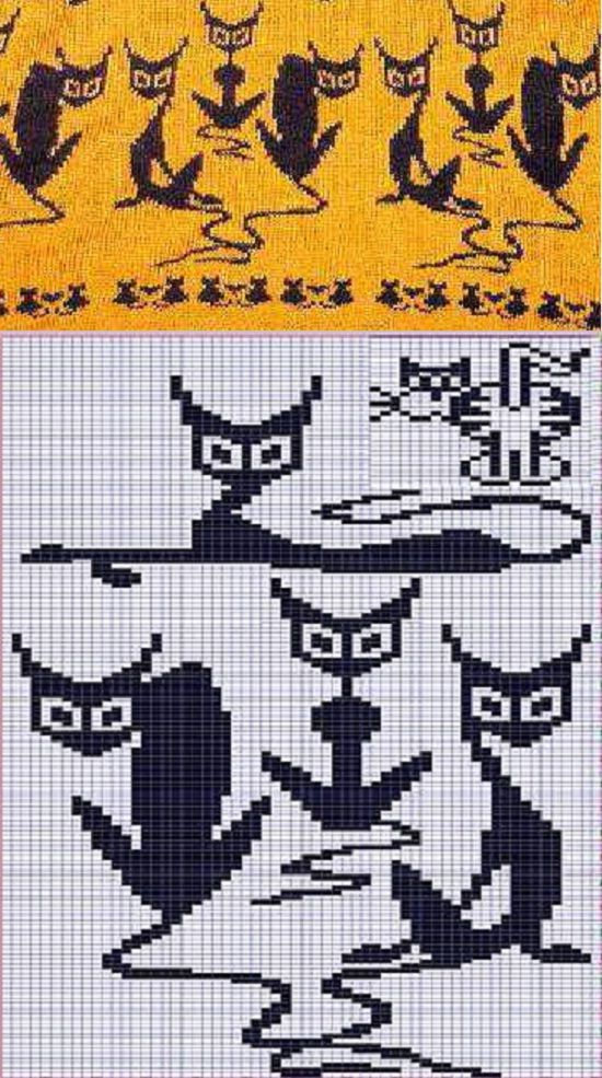 "jacquard pattern ""cat"""