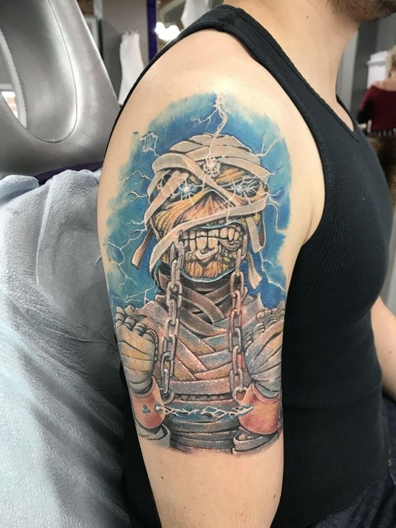 Eddie Finally Completed By Memo Espino Insight Studios Chicago Tattoos Female Tattoo Nerd Tattoo Black Tattoos