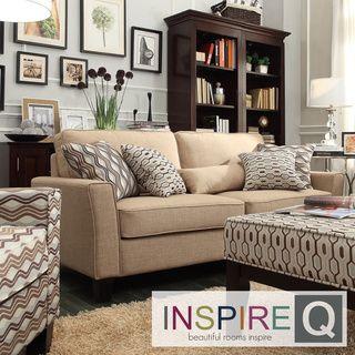 Inspire Q Hampton Mocha Linen Upholstered Track Arm Sofa