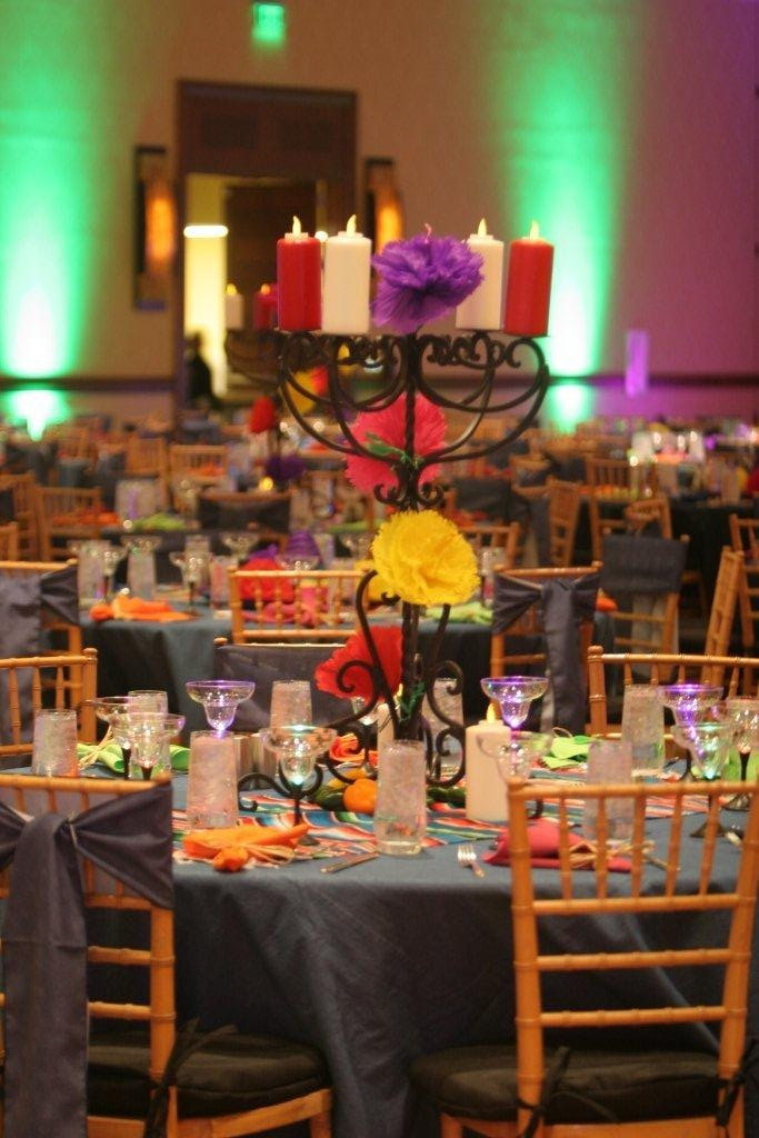 Candelabra centerpiece, color, festive, black, chivari chairs