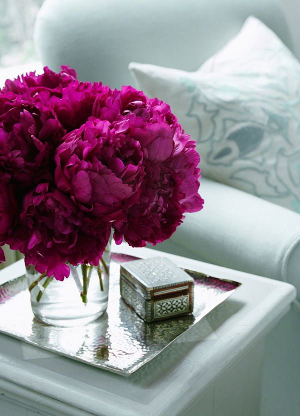 side table with flowers  try to have several different size & shape vases ready for a fresh bouquet of fragrant flowers.
