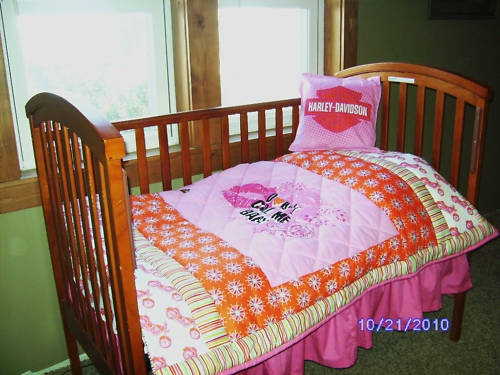 Custom Pink Harley Davidson Baby Crib Toddler Bedding Set