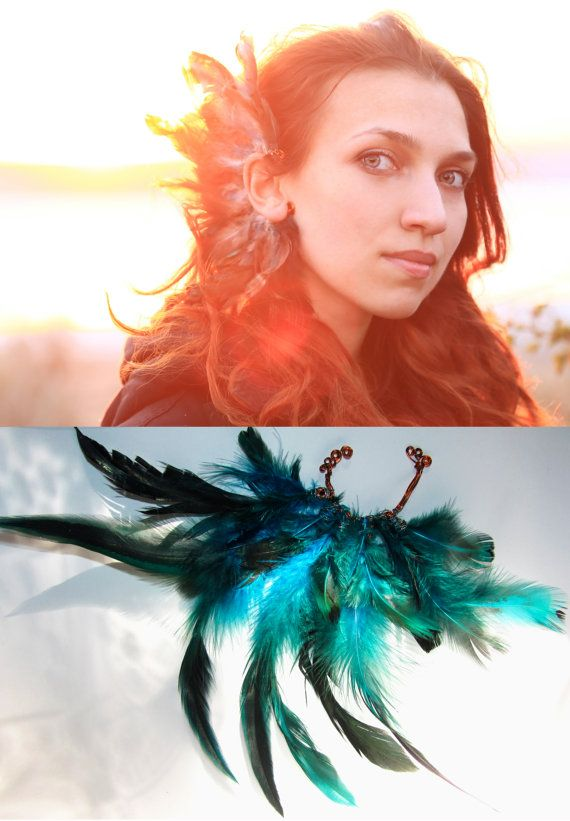 Feather ear cuff tribal Serenity photoshoot Turquoise white feather shaman burlesque fantasy Festival earring OOAK Burning man Spirit tribe