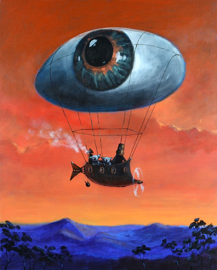 """ Everything looks better from above. That is why Ned decided to fly with his all seeing steam balloon. Two angry koalas could not resist such a chance, they leaped onto the board as well."" Painting by Max Horst Sokolowski, acrylics on canvas , 75 cm by 60 cm"