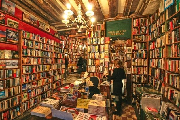 """Bookstores You Have To See Before You Die ~~~ 5B. Shakespeare and Company in Paris, France [Note: Wonder if the """"Blue Oyster Tea Room"""" is real?]"""