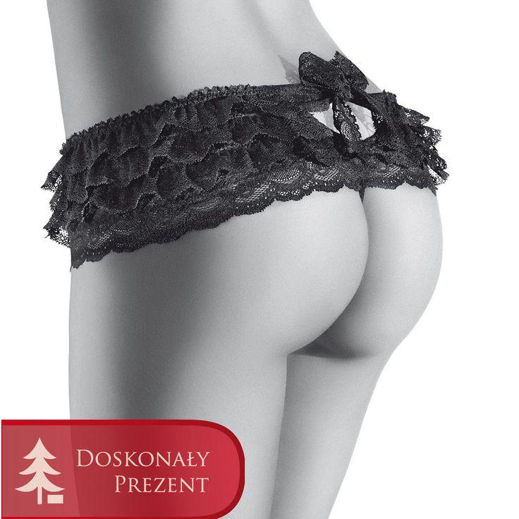 Aubade Boite a Desir P071 Bikini Frou-Frou Black - przepiękne majtki, idealne na prezent. Dostępne są w rozmiarze uniwersalnym (one size), cena 249,99 zł
