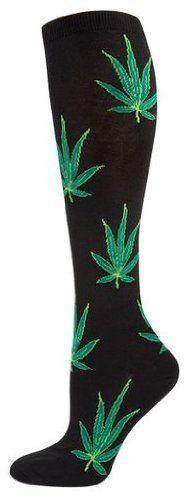 Socksmith Pot Leaf Knee High Socks (Black) - http://www.amazon.com/gp/product/B00E62NH9O/ref=as_li_ss_tl?ie=UTF8&camp=1789&creative=390957&creativeASIN=B00E62NH9O&linkCode=as2&tag=420life-20