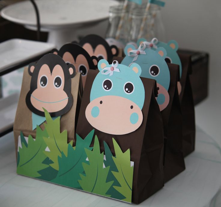 These are so cute. Babi Safari party theme 4 graphics for favor bags. $20.00, via Etsy.