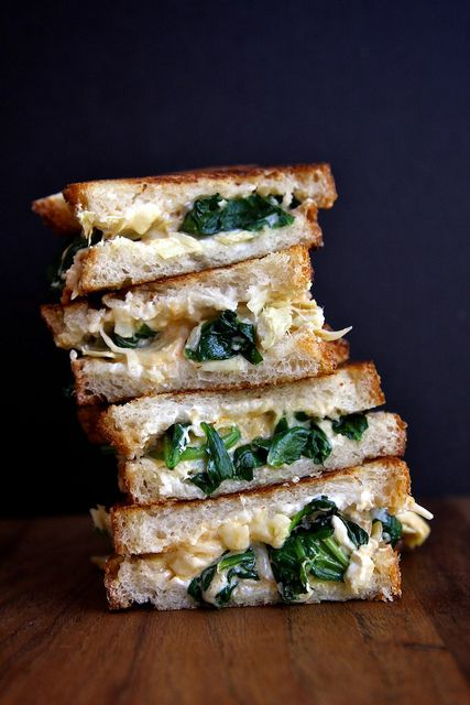 spinach and artichoke grilled cheese sandwich/