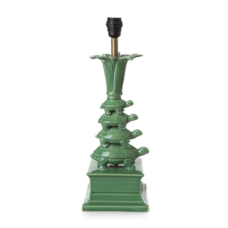 HOUSE OF HACKNEY Stacked Porcelain Tortoise Lampstand - Green