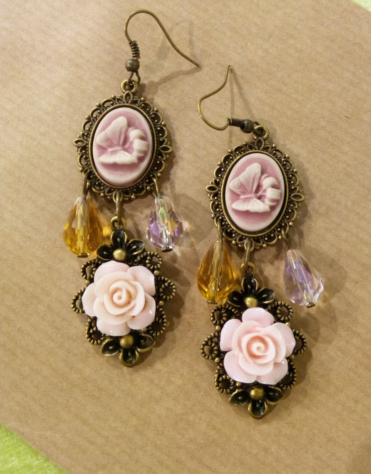 Shabby chic romantic roses on bronze filigree with drops chandelier earrings - Handmade  earrings by ManthaCreaMiniatures on Etsy