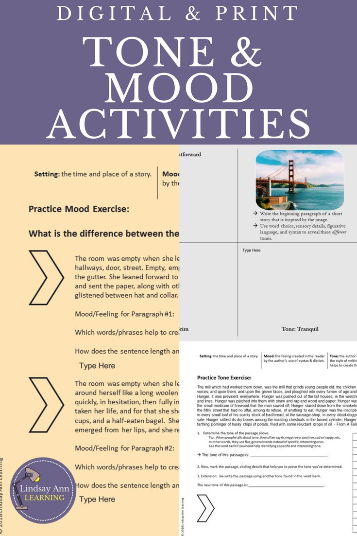 Help middle school and high school English language arts students to practice literary analysis skills by identifying and analyzing mood and tone in writing.  21st century digital classroom activities for Google Drive. #englishlanguagearts #literatureactivities #digitalteachingresources #tptdigital $