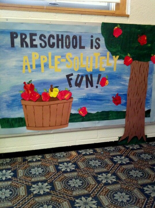 Fun fall bulletin board :) I had a regular apple template to make extra apples and each of the kids painted an apple with a worm in it to contribute to the board.