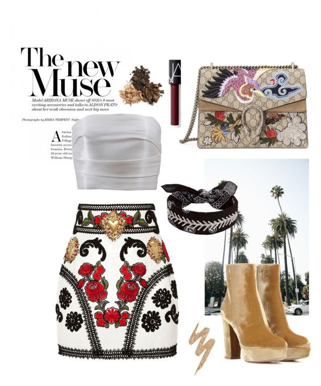 """LA looks✨ #40 | @polyvore"" by graciausty on Polyvore featuring Gianvito Rossi, Dolce&Gabbana, Monique Lhuillier, Fallon, Gucci, Urban Decay and NARS Cosmetics"