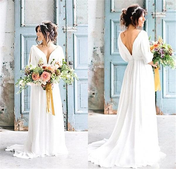 Cheap Bohemian Beach Bride Dress With Sleeves Country Wedding Sexy V Neck Backless Greek Dresses Robe De Mariage As Low 19448