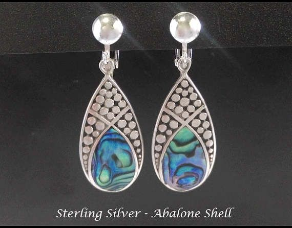Clip On Earrings 212: Spectacular Abalone Shell in Stunning Sterling Silver Clip On Earrings | Silver Earrings, Clip On Earrings, Gift Idea from www.mothersdayaustralia.net.au and https://www.etsy.com/shop/EarringsArtisan #cliponearrings #earrings #silverearrings #clipon #giftsforwomen #mothersday #mothersdaygiftideas #jewelry #jewellery