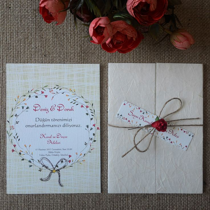 Masal Davetiye Hasır Modelimiz, Düğün davetiyesi... Kağıt ve kumaş karışımlı özel yapım lifli kapak, ip, çiçek ve isimlik kart...