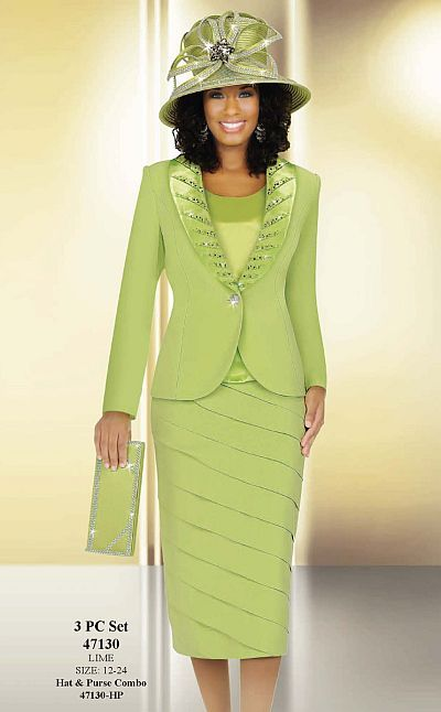 Ben Marc Hats | Ben Marc International Womens Lime 3pc Tiered Church Suit 47130 image