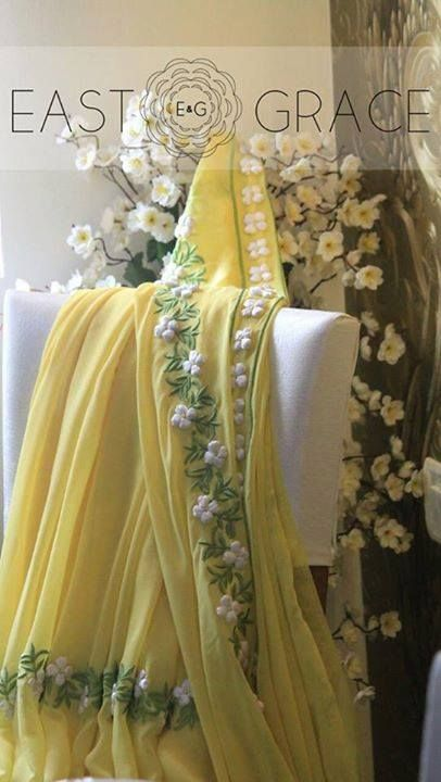 White Buttercup - White satin #ribbonwork on pastel yellow pure georgette #saree #eastandgrace #indian. #inspirationalquotes #eastandgrace E&G is coming soon: www.eastandgrace.com