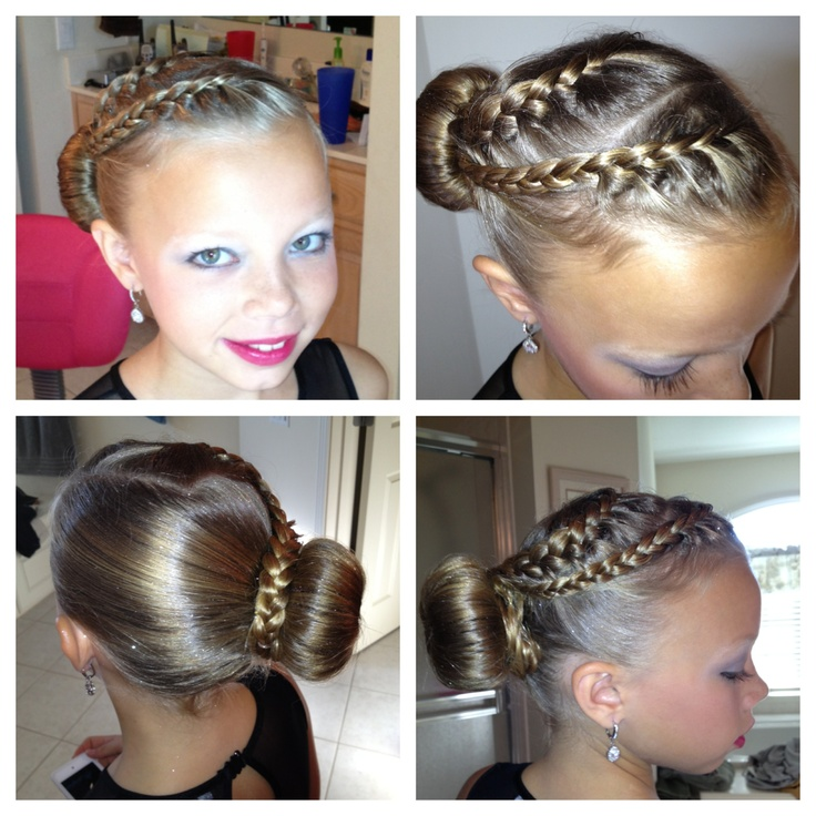 Braids into bin.  Figure skating hair.