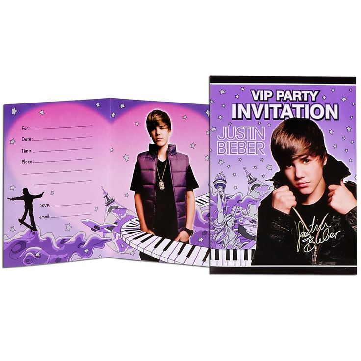 Justin Bieber Invitations Justin Bieber Invitations (8) Weight (lbs) 0.19 Length (inches) 5.75 Width (inches) 4.5 Height(inches) 0.5