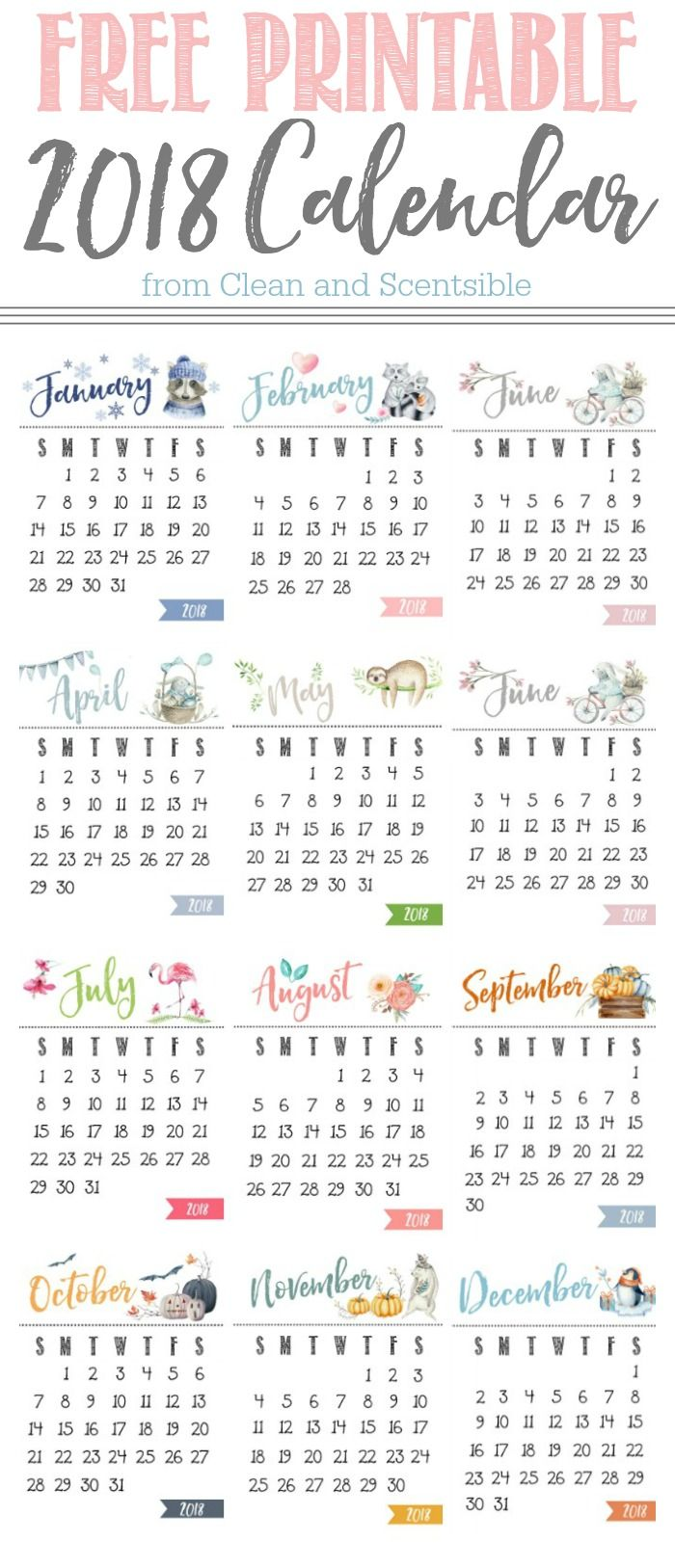 Cute watercolor free printable 2018 calendar. Display on a stand, hang, or add to a mini-clipboard. Stay organized for 2018! THIS CALENDAR IS UPDATED YEARLY.