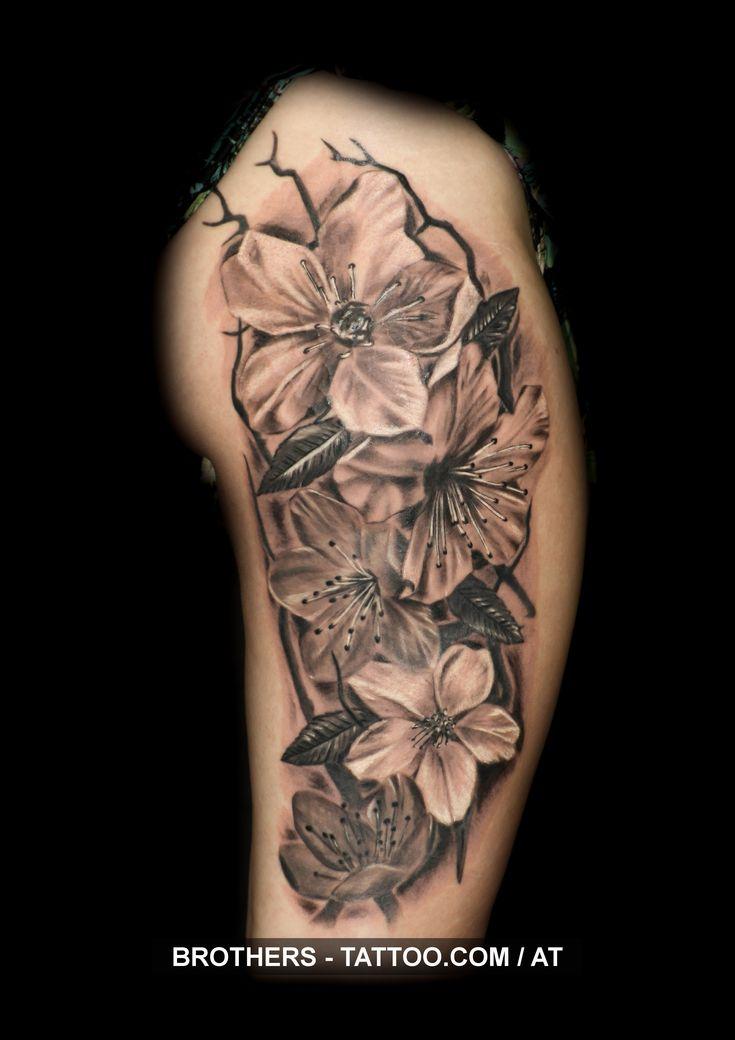 Cherry blossom tattoo black and white year 2016
