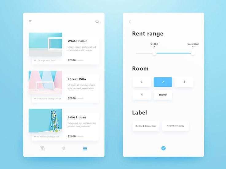 Rental Application Interface-list and filter by DBG_4K #Design Popular #Dribbble #shots