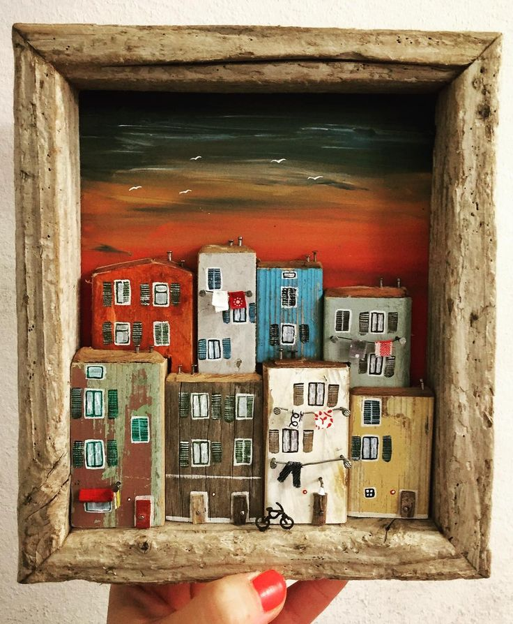 Crowded houses  #nikastinyhouse #sunset #handmade #unique #art #artist #atelier #creative #tinyhouses #driftwood #picture #frame #slovenia #piran