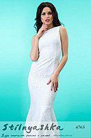Длинное платье в стиле годе Летняя Русалка белое 4763