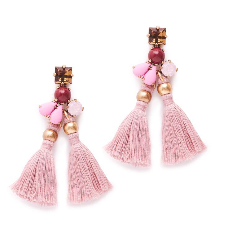 J.Crew women's small tassel earrings in light mauve.