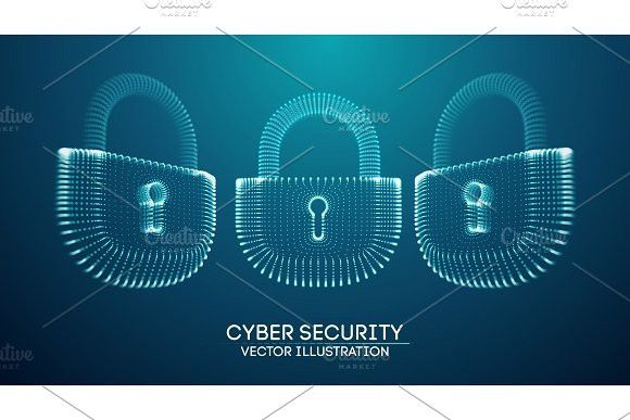 Coputer internet cyber security background. Cyber crime vector illustration. digital lock #cyber #cybercrime