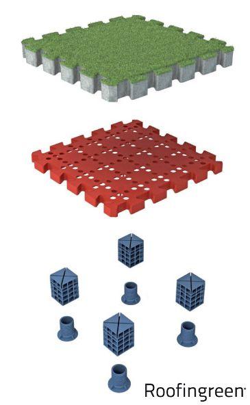 Roofingreen Nature è un sistema modulare brevettato ideale per il rivestimento e la pavimentazione di superfici esterne orizzontali. Grazie a una particolare struttura di supporto, con basi di appoggio ad altezze regolabili, consente di creare superfici sopraelevate e ventilate