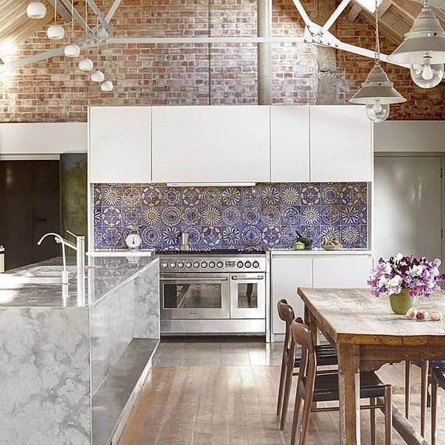 When blue, white, and exposed brick come together, magic happens. #homedecor #perfection  (Regram: @elledecor, photo by Luke White, design by Woollacott Gilmartin)