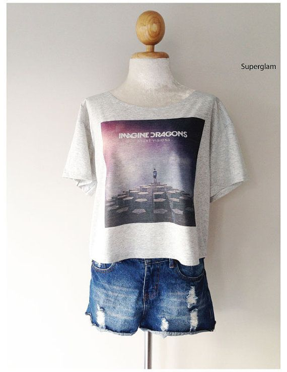 Imagine Dragons Night Version Album Band Rock Women Top Wide Crop Fashion T shirt on Etsy, $14.99