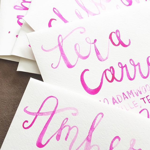 Watercolor brush calligraphy makes for some pretty envelopes ✍