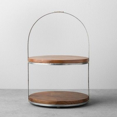 2-Tier Wood & Metal Cake Stand - Hearth & Hand™ with Magnolia : Target