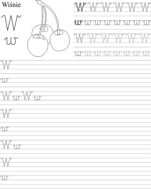 Szablon do wydrukowania pdf z nauką litery W w
