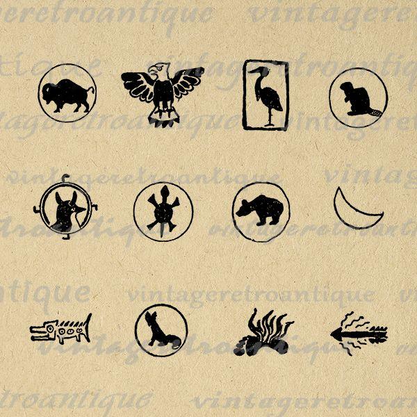 Digital Native American Animal Symbols Antique Graphic Printable Image Download Vintage Native American Animal Symbols Native American Animals Animal Symbolism