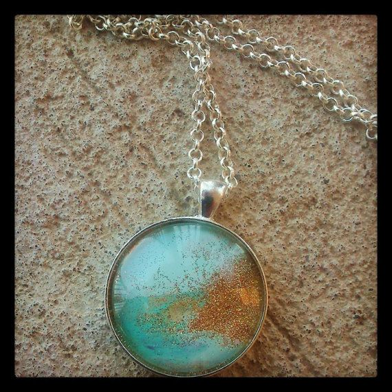 Mint and Gold Pendant Handcrafted/ by HippieSoulJewelry on Etsy, $15.00