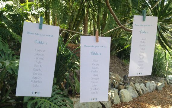 Beautiful Modern Funky Wedding Table/Seating Plan by GOTMEPEGGED