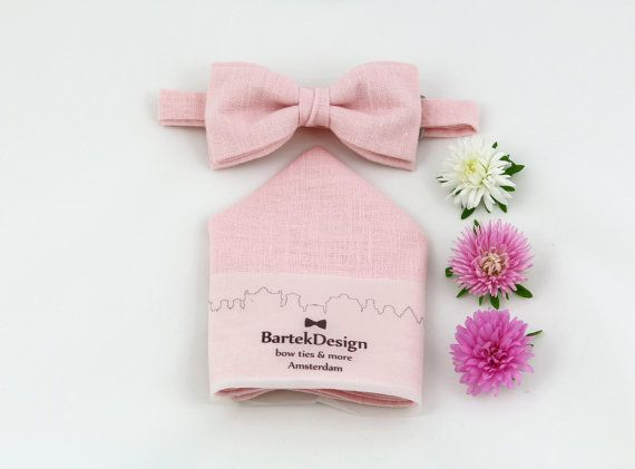 Set Pre Tied Bow Tie & Pocket Handkerchief by by BartekDesign