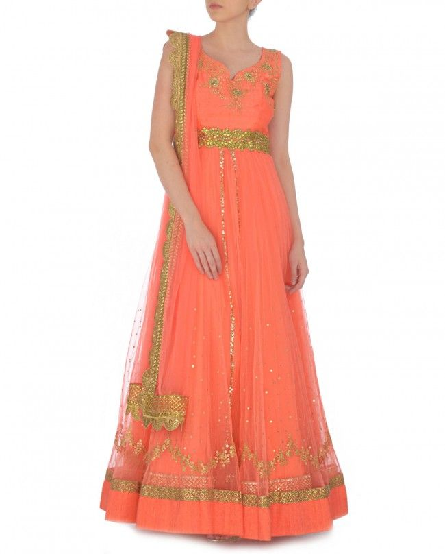 Neon Coral Anarkali Suit with Zari Embellished Flowers by Kylee Shop
