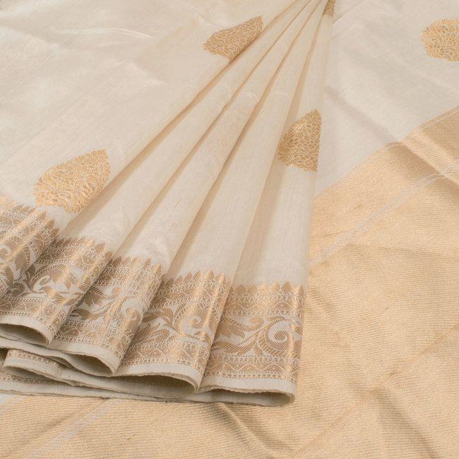 Buy online Handwoven White Kadhwa Banarasi Katan Silk Saree With Floral Butis 10013070