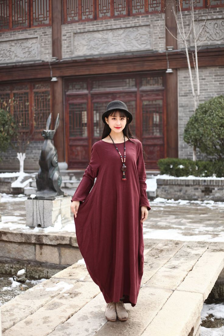 Linen dress Cotton Maxi dress Casual loose Kaftan Party Dress Extravagant Daywear Dress Custom-made Plus size tunic dresses Large size dress by Luckywu on Etsy