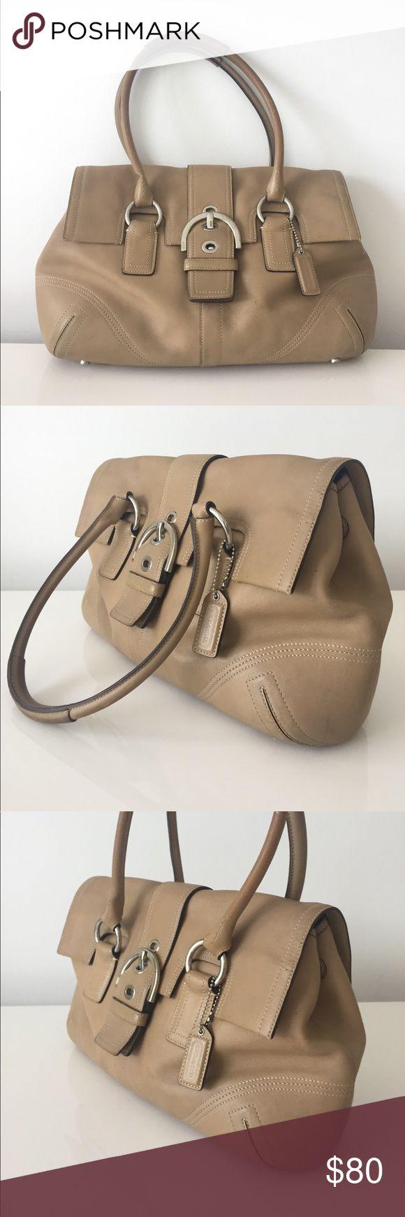 Beige leather Coach Shoulder bag 100% Authentic beige/tan leather Coach shoulder bag in good pre owned condition Coach Bags
