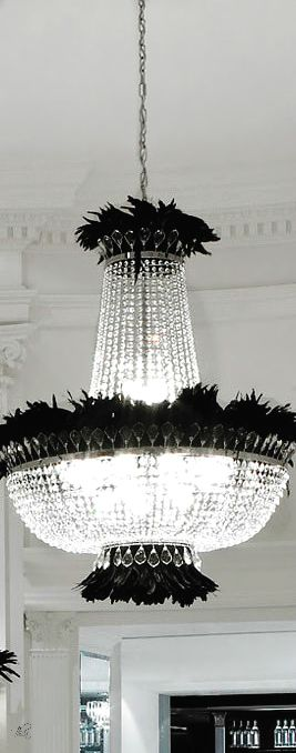 Frivolous Fabulous - Chandelier with added black Feathers - Halloween Glamour