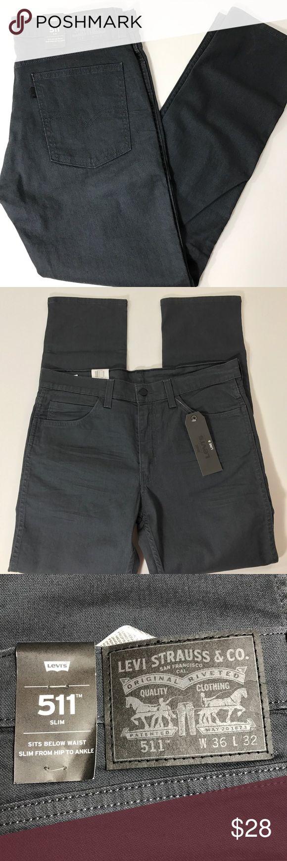 NWT MEN LEVIS 511 SLIM JEAN DARK GRAY LINE 8 36x32 Nice dark gray color  Waist 36 inches  Inseam 32 inches Levi's Jeans Slim Straight