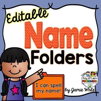 """These+name+folders+are+a+fun,+portable+way+for+children+to+practice+their+names+with+4+different+activities.Please+see+THIS+BLOG+POST+for+pictures+of+how+we+use+these+folders+in+our+classroom.To+use+this+editable+product,+you+will+need+to+""""unzip""""+the+file.There+are+2+documents+included:1."""